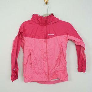 Marmot Girls Rain Jacket Stowaway Hood Waterproof